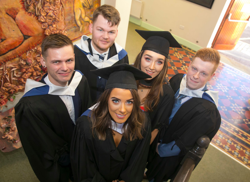 02/11/2017. Waterford Institute of Technology Conferring are Chloe Corcoran, Waterford, James Sinnott, Kilkenny, Stephen Mullally, Wicklow, Denise Brophy Wexford and Frankie Kelly Kilkenny. Picture: Patrick Browne