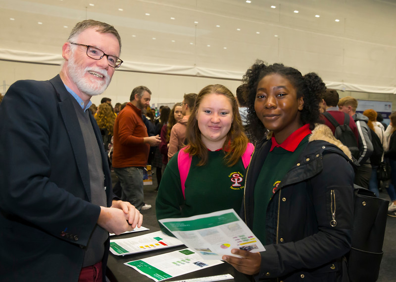 FREE TO USE IMAGE. Pictured at WIT's Autumn Open Days in the WIT Arena are Rebecca Stephenson and Simi Popoola from St. Paul's Community School with Jim Lawlor from the School of Engineering. Picture: Patrick Browne  WIT's Autumn Open Days in the WIT Arena were on Friday, 23 November and Saturday, 24 November 2018. The Schools Open Day on Friday attracted thousands of secondary school students.  The event focused on undergraduate entry for September 2019 but also showcases the opportunities for postgraduate learning and research and flexible study through our School of Lifelong Learning & Education.  The institute has 70 CAO courses across a range of discipines including,business,engineering and architecture, sports and nursing, law, social sciences, arts and psychology, the creative & performing arts, languages, tourism and hospitality, science and computing.   WIT's Autumn Open Days included presentations on all CAO courses, including new courses for 2019, as well as the opportunity to experience what it would be like to study on those courses and talk to lecturers directly.