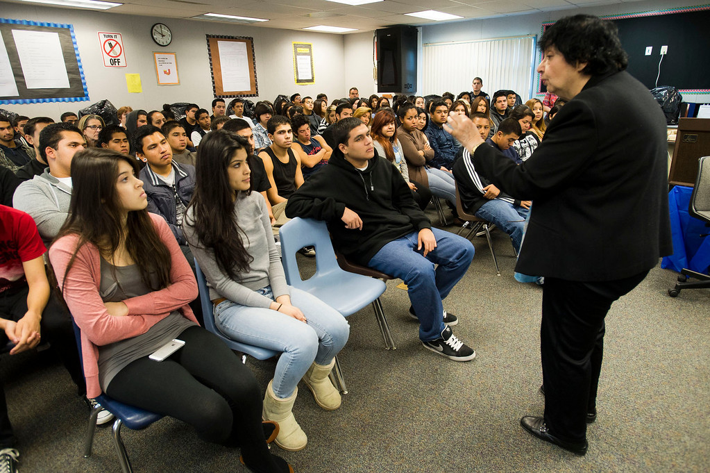 . Inge Auerbacher, 78, one of the Holocaust child survivors, speaks to students at Sierra High School in Glendora on Tuesday, Nov. 12, 2013. Auerbacher told her stories about the time she spent in the Terezin concentration camp. (Photo by Watchara Phomicinda/San Gabriel Valley Tribune)
