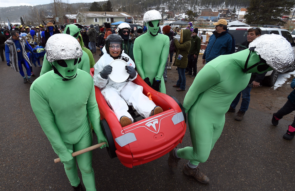 . The Tesla has been captured by aliens and forced to be part of the parade on Saturday during 2018 Frozen Dead Guy Days in Nederland. The festival continues on Sunday. For more photos, go to dailycamera.com. Cliff Grassmick  Photographer  March 10, 2018