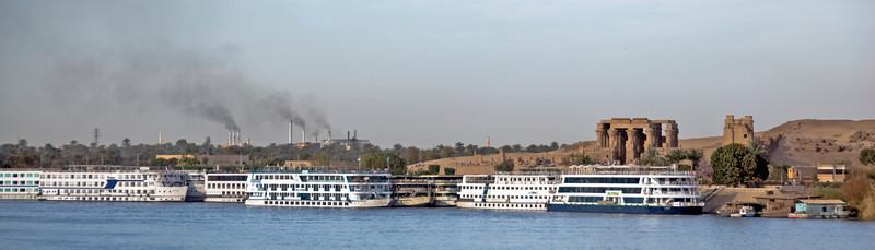 Wide shot of Temple of Kom Ombo across Nile River - Komombo, Egypt