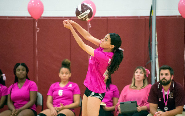 10/09/19 Wesley Bunnell | StaffrrInnovation girls volleyball defeated Wheeler 3-0 on Wednesday afternoon. Keshliani Hidalgo (4).
