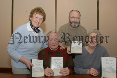 """Eddie Mc Ateer from Ballyholland who is a member of the Newry Writer's Circle launched his book on short storie's under the title """"The Times that's in it"""", with other members Madge Mc Donald, Sean Maguire and Gertrude Fox. 06W12N51"""
