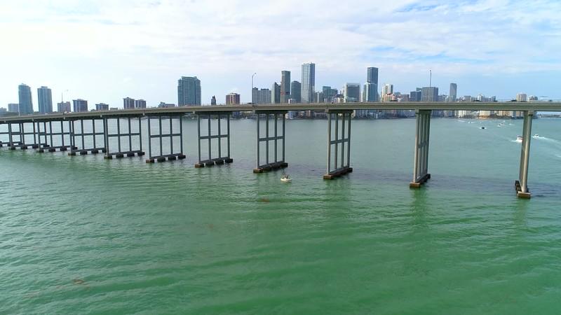 Aerial establishing drone footage Miami Brickell