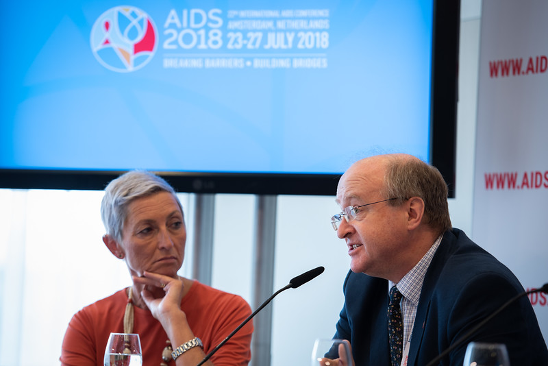 22nd International AIDS Conference (AIDS 2018) Amsterdam, Netherlands.   Copyright: Steve Forrest/Workers' Photos/ IAS  Photo shows: The Criminalization of HIV JIAS Press Conference. From Left to Right: Linda-Gail Bekker (Chair), Peter Godfrey-Faussett, Senior Adviser, Science, UNAIDS, (United Kingdom).