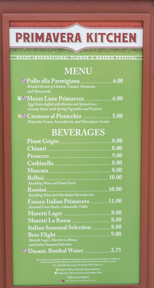 Primavera Kitchen Full Menu with Prices - Epcot Flower & Garden Festival 2016