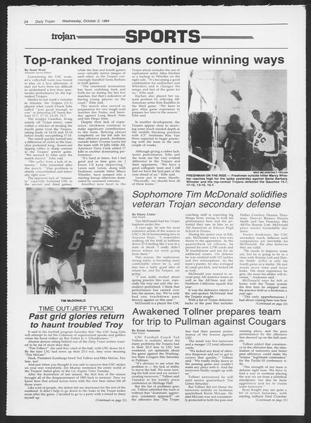 Daily Trojan, Vol. 97, No. 22, October 03, 1984