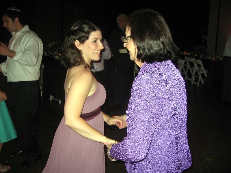 Vicki (bridesmaid) dances with Bernice (grandmother of the bride)