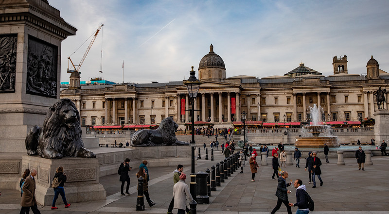 Trafalger Square and the National Gallery.