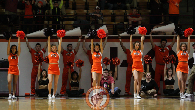 The Virginia Tech cheerleaders hold up their arms as the Hokies attempt the first of two free throws after a foul. (Mark Umansky/TheKeyPlay.com)