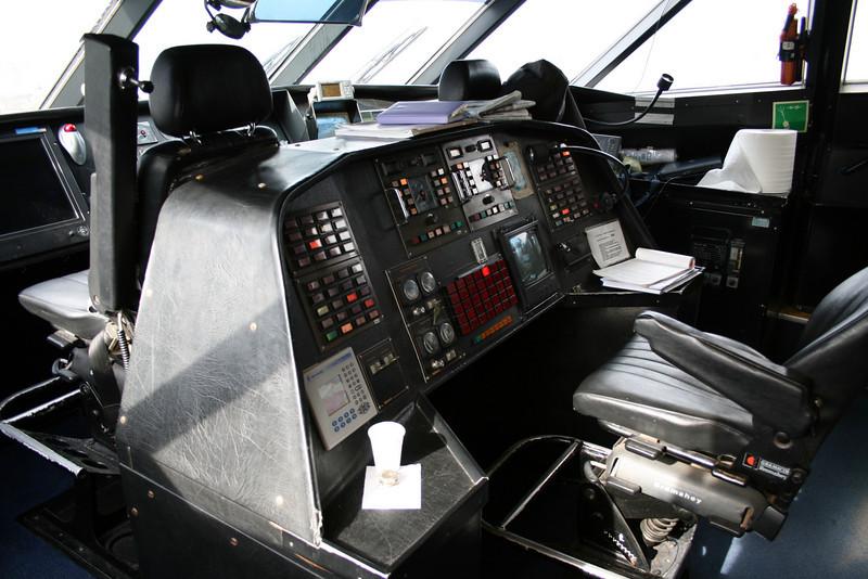 2011 - On board DSC SNAV ALCIONE : the bridge, engineer's seat.
