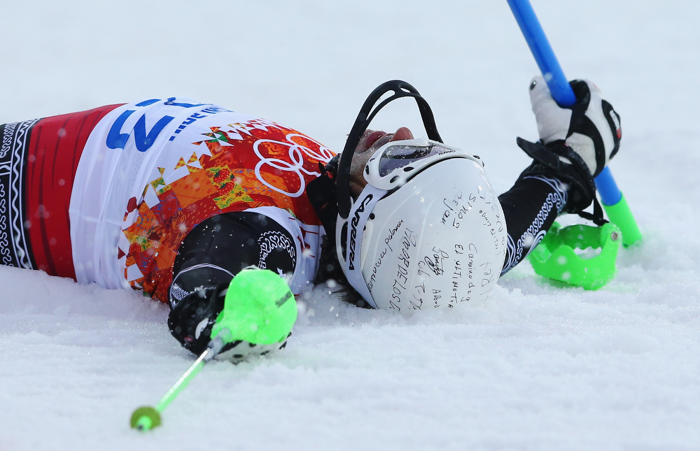 . Hubertus Von Hohenlohe of Mexico crashes out in first run during the Men\'s Slalom during day 15 of the Sochi 2014 Winter Olympics at Rosa Khutor Alpine Center on February 22, 2014 in Sochi, Russia.  (Photo by Alexander Hassenstein/Getty Images)