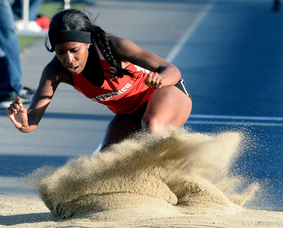 . Harvard Westlake\'s Efe Agege competes in the Triple Jump during the CIF-SS Masters Track and Field meet at Falcon Field on the campus of Cerritos College in Norwalk, Calif., on Friday, May 30, 2014.   (Keith Birmingham/Pasadena Star-News)