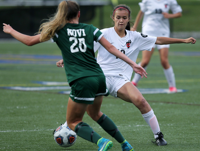 Novi dominates Troy throughout defeating the Colts 4-1 in Division 1 semifinal soccer action at Rochester Stoney Creek High School Tuesday, June 12, 2018. (For The Oakland Press / LARRY McKEE)