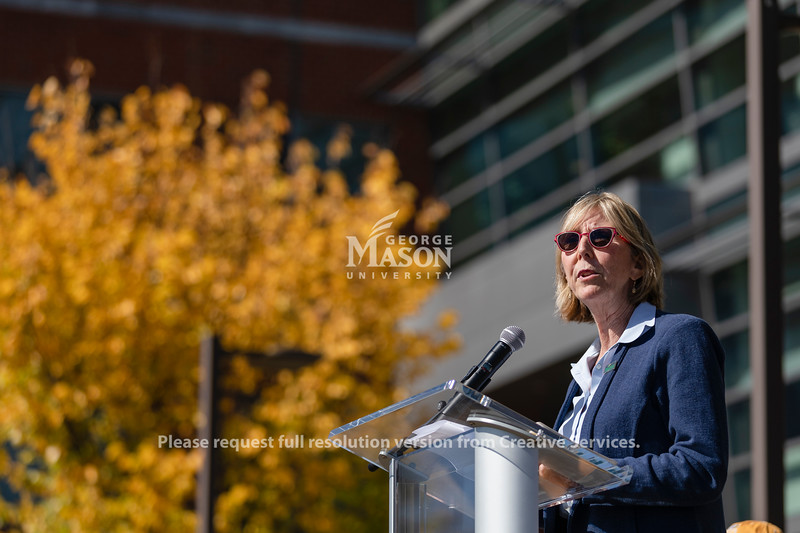 Senior Vice President for Finance and Administration Carol Kissal speaks during the Fridays for Future climate rally at George Mason University. Photo by Lathan Goumas/Office of Communications and Marketing   Photo Taken:Friday, October 18, 2019