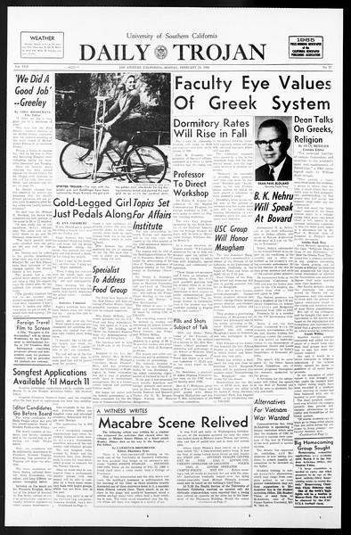 Daily Trojan, Vol. 57, No. 77, February 28, 1966