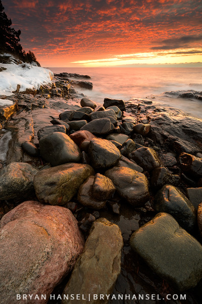 Winter Sunrise over Frozen Stones