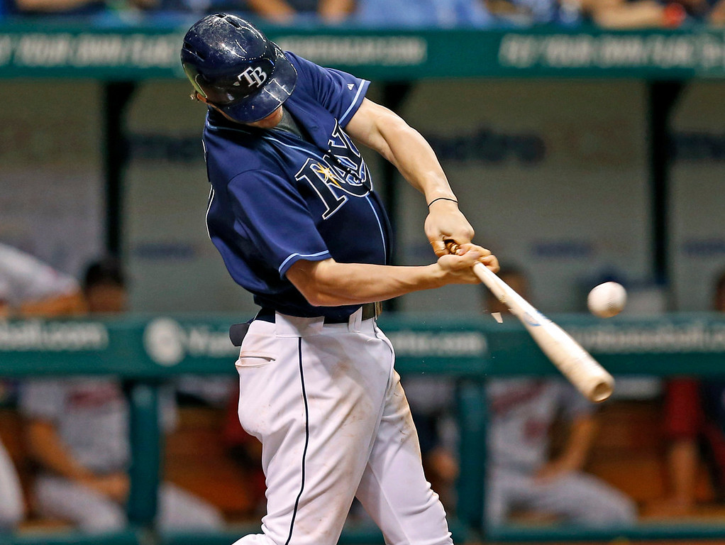 . Tampa Bay\'s Wil Myers connects on an RBI single during the third inning against the Twins. (AP Photo/Mike Carlson)