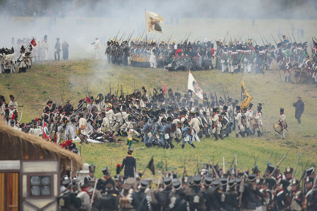 . Historical society enthusiasts in the role of Allied and Napoleonic soldiers clash during the re-enactment of The Battle of Nations on its 200th anniversary on October 20, 2013 near Leipzig, Germany. (Photo by Sean Gallup/Getty Images)