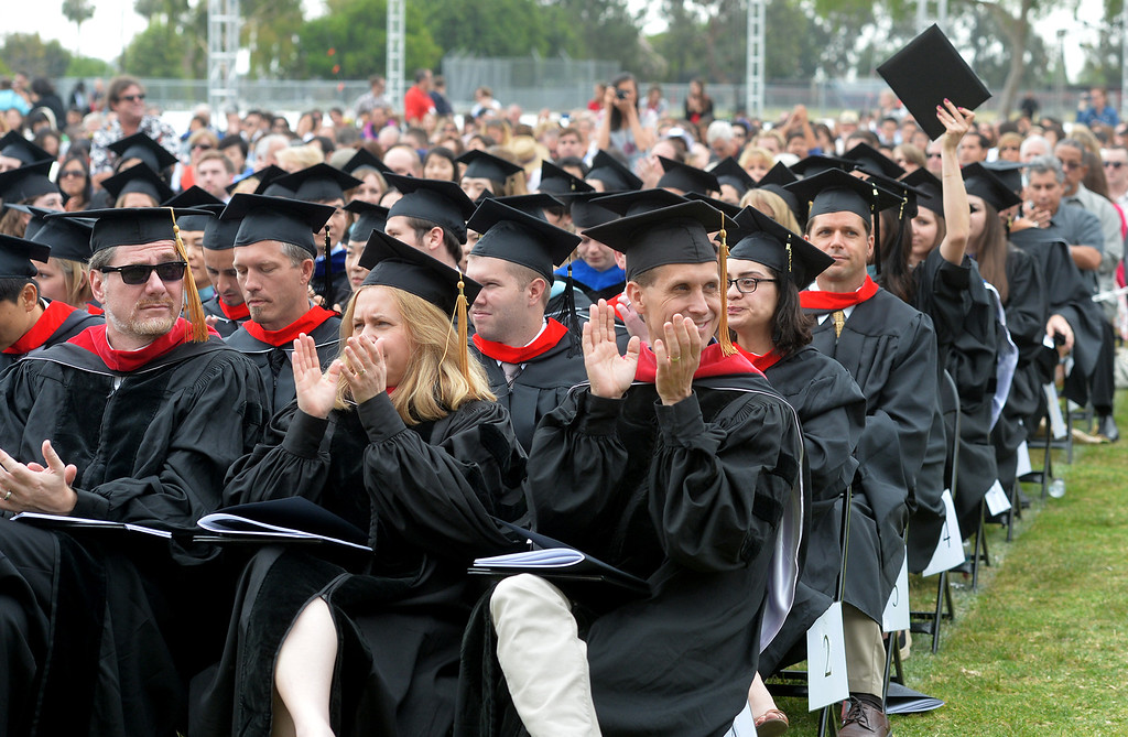 . Graduate and Doctoral students receive their degrees during the Commencement Ceremony at Biola University in La Mirada on Friday May 23, 2014. Kay Warren, International speaker and author, gives the commencement address. (Photo by Keith Durflinger/Whittier Daily News)