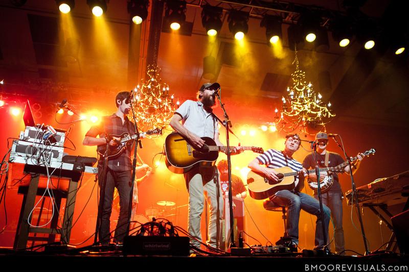 "Mark Waldrop, David Crowder, Jeremy ""B-Wack"" Bush, Jack Parker, and Mike Dodson of David Crowder Band perform at Manatee Convention Center in Palmetto, Florida on November 6, 2011"