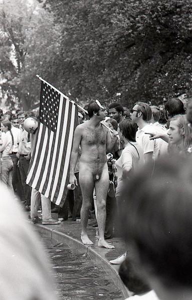 Yep, that is a banana peel on his head. Anti-war demonstration, Washington DC, May 9, 1970.