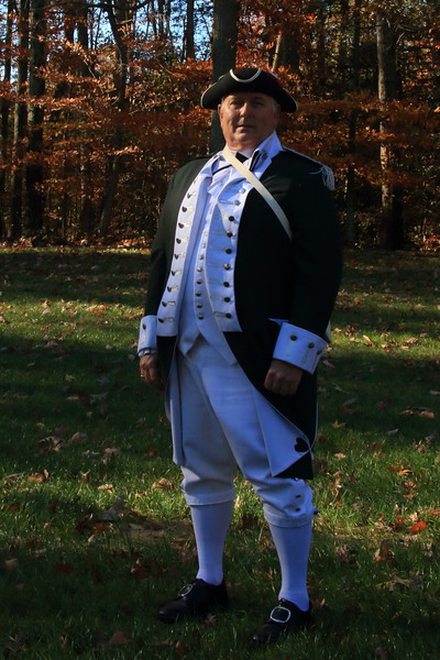 Actor in Revolutionary war uniform.  Quantico National Cemetery in Virginia on Veteran's Day 2015.