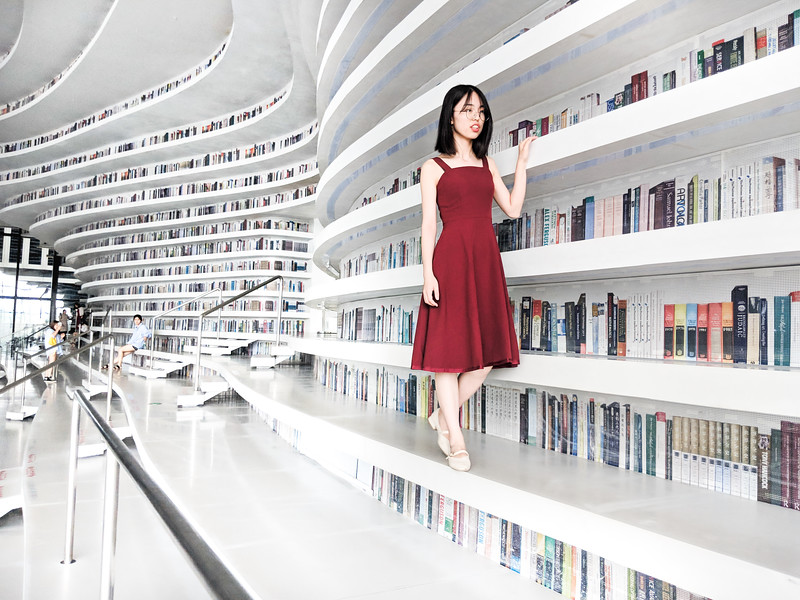 Checking Out Books In The Tianjin Library