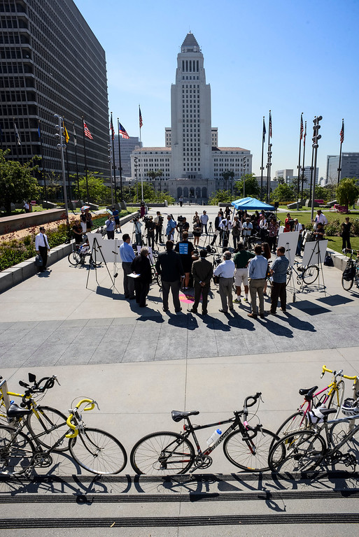 ". Cyclists, Metro and county officials gathered at Grand Park in Los Angeles Monday to kick off the first day of Bike Week.  Metro and cities throughout Los Angeles County are supporting programs for cyclists during the week.  Thursday is the official ""Bike to Work\"" day.   Photo by David Crane/Los Angeles Daily News."