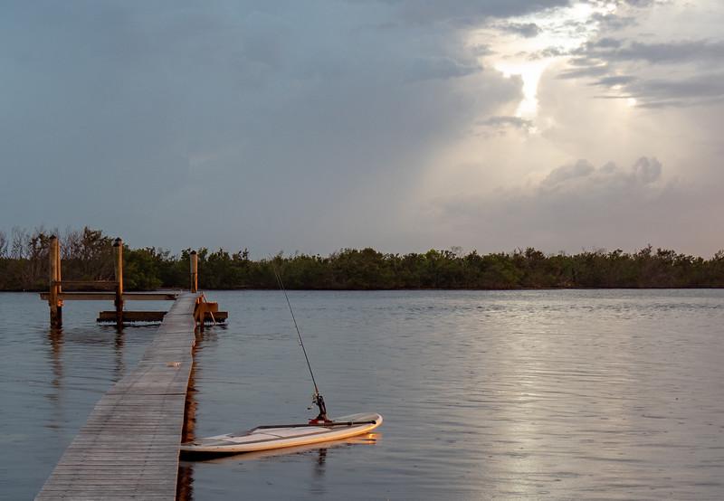 evening paddle fishing