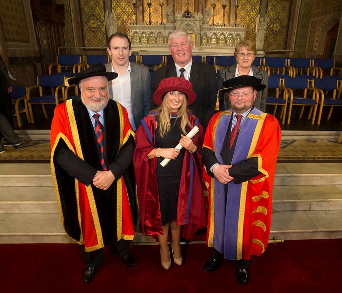 Pictured is Elaine Alyward, Kilkenny, who was conferred a Doctor of Philosophy, also pictured is Jonathan Johnston, Patrick and Eileen Alyward,  Jack Walsh, Deputy Chairperson Govering body and Dr. Derek O'Byrne, Registrar of Waterford Institute of Technology (WIT). Picture: Patrick Browne.