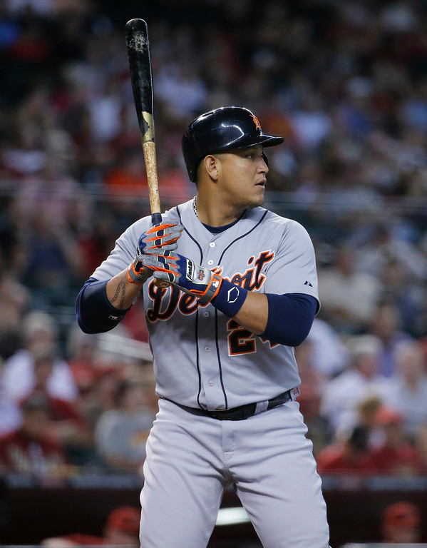 . Detroit Tigers\' Miguel Cabrera hits against the Arizona Diamondbacks during the first inning of a baseball game, Wednesday, July 23, 2014, in Phoenix. (AP Photo/Matt York)