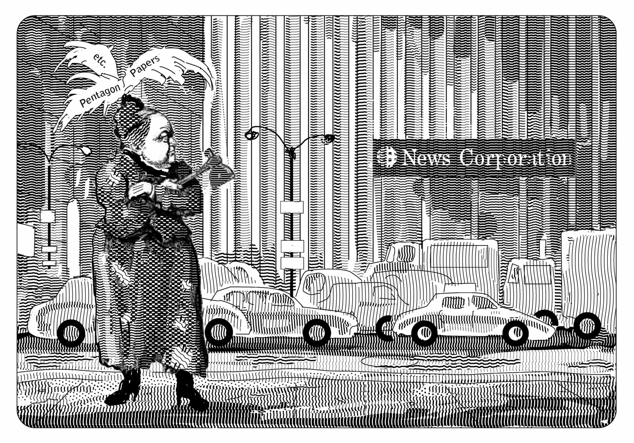 The Gray Lady Confronts the Competition: Illustration for the Claremont Review of Books; Summer 2011