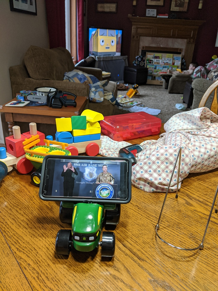 Watching the WPAFB press conference via TRACTOR-phone, April 1, 2020