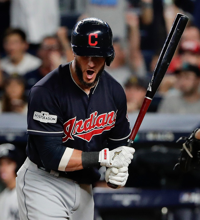 . Cleveland Indians\' Yan Gomes reacts after striking out against the New York Yankees during the eighth inning in Game 3 of baseball\'s American League Division Series, Sunday, Oct. 8, 2017, in New York. (AP Photo/Frank Franklin II)