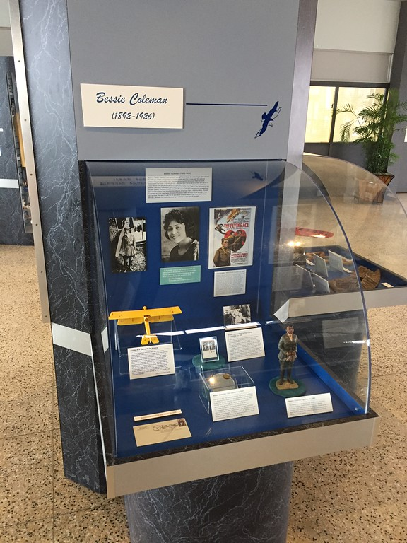. Courtesy of Katie Brinager � International Women�s Air &amp; Space Museum <br> An exhibit on Bessie Coleman, the first woman of African-American descent and the first of Native American descent to hold a pilot license.
