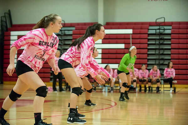 10/17/19 Wesley Bunnell | StaffrrBerlin girls volleyball hosted Bristol Eastern on Thursday evening. Jordan Barber (30) and teammates line up to return a serve.