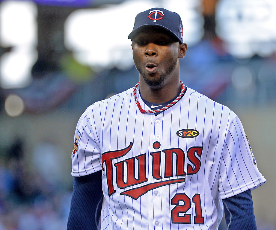 . Twins reliever Samuel Deduno walks off the mound after giving up two runs to the Oakland A\'s in the seventh inning. (Pioneer Press: John Autey)