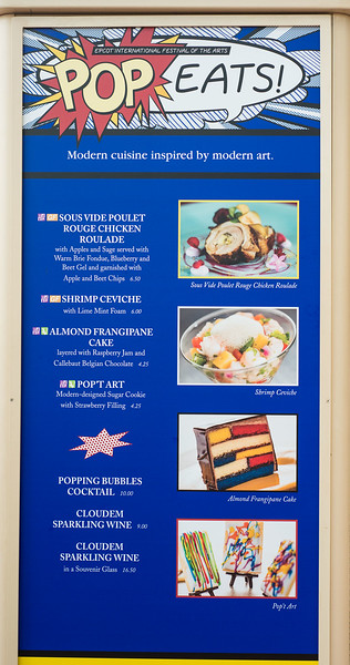 Epcot International Festival of the Arts - Pop Eats! Menu - Magic Kingdom Walt Disney World