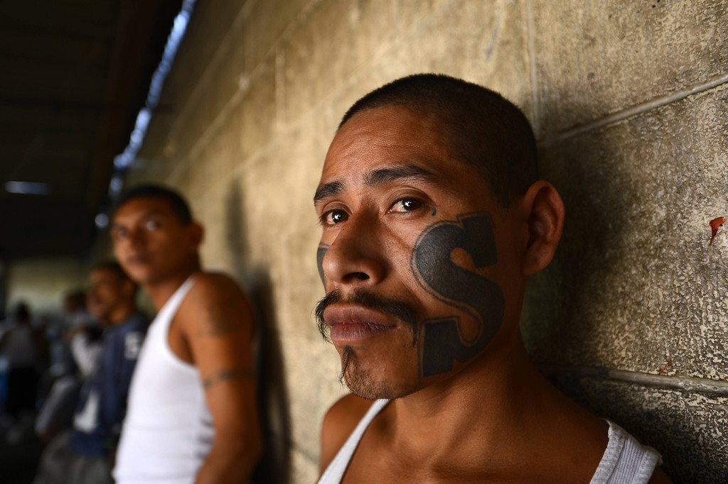 . Members of Mara Salvatrucha (MS13), held on Monday, March 4, 2013, in the Criminal Center of Ciudad Barrios, San Miguel, 160 km east of San Salvador, after one year of cessation of the violence between the rivalry of two large gangs in El Salvador, MS13  and 18 st.   El Salvador, a small country of six million people, is brimming with an estimated 50,000 street gang members, plus another 10,000 who are behind bars.  Since the first truce took effect about a year ago, the average daily death toll from gang-related violence has gone down from 14 to five.  Marvin RECINOS/AFP/Getty Images