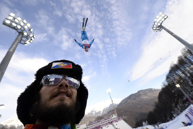 . Belarus\' Hanna Huskova (27) takes a warm up run before the Women\'s Freestyle Skiing Aerials Qualifications at the Rosa Khutor Extreme Park during the Sochi Winter Olympics on February 14, 2014.  (FRANCK FIFE/AFP/Getty Images)