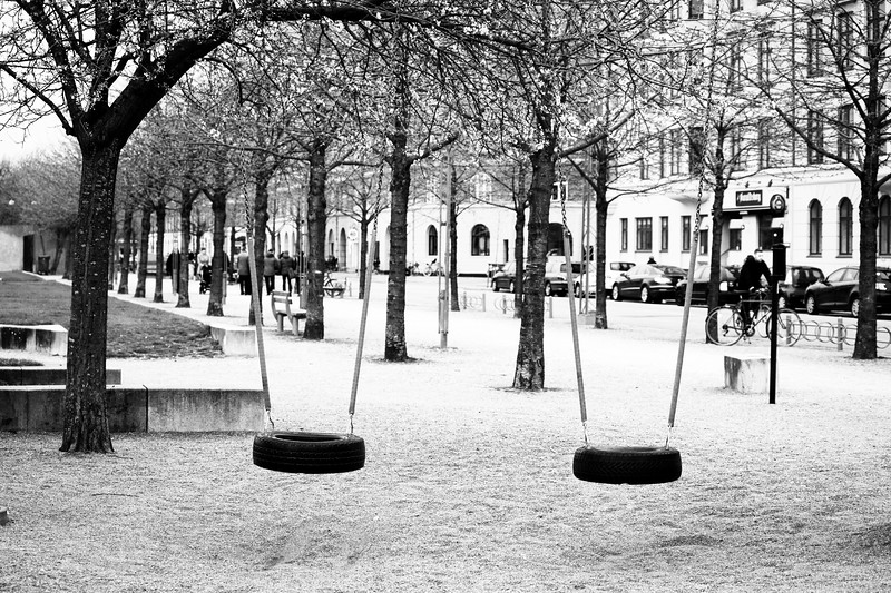 In every park must have a swing for children to play and so I found these one by street side in Copenhagen, Denmark.
