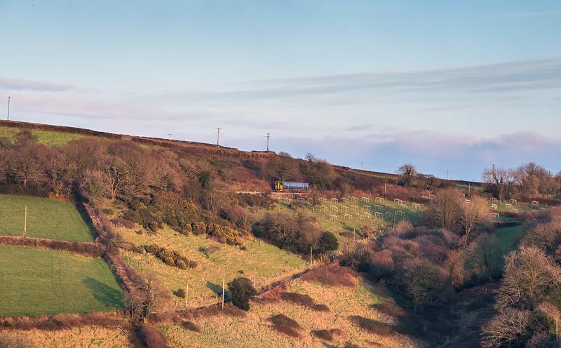 060118   Taken accross the Tamar valley,a 153 trundles down the Gunnislake branch near Cotehele.
