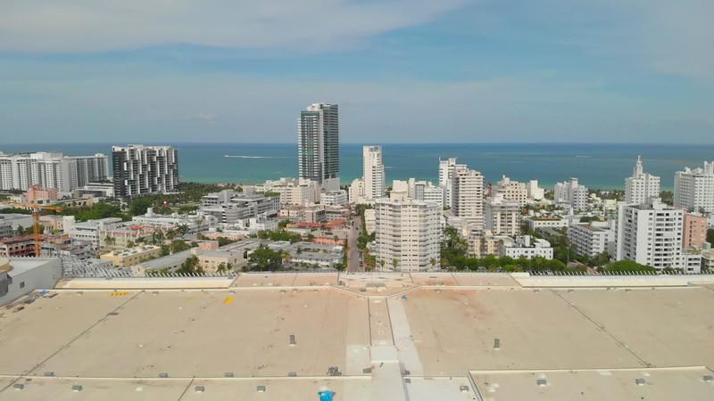Aerial Miami Beach approach Atlantic Ocean