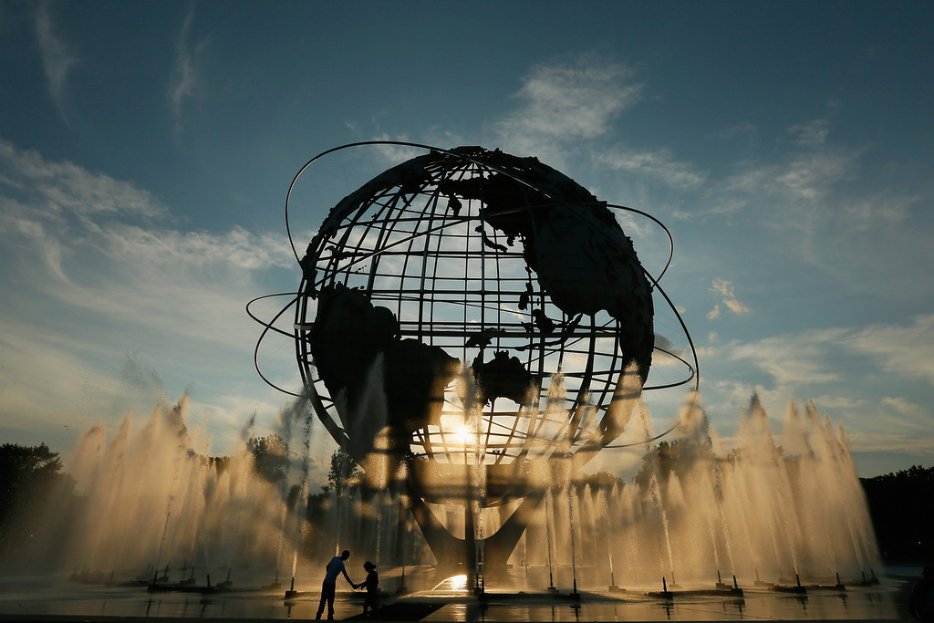 . NEW YORK, NY - AUGUST 27: The sunsets behind the unisphere on Day Two of the 2013 US Open at the USTA Billie Jean King National Tennis Center on August 27, 2013 in New York City.  (Photo by Mike Stobe/Getty Images for the USTA)