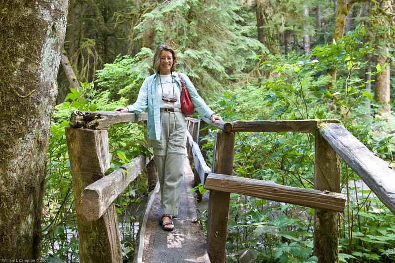 Melinda crossing the tree bridge near Meeramer Falls Olympic National Park