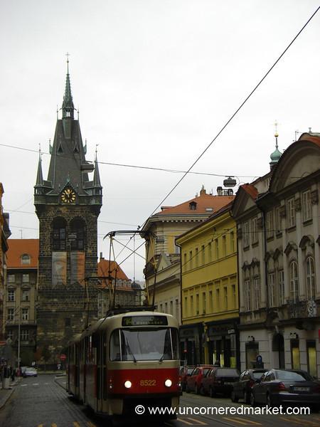 Prague Tram in Motion - Czech Republic