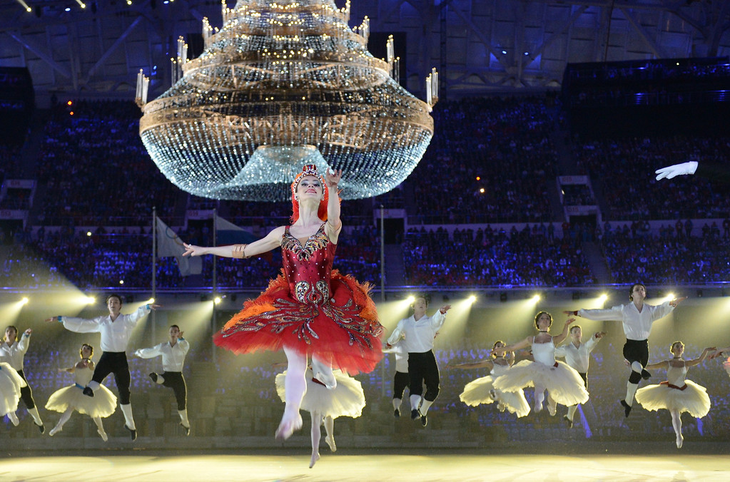 . Dancers perform during the Closing Ceremony of the Sochi Winter Olympics at the Fisht Olympic Stadium on February 23, 2014.   DAMIEN MEYER/AFP/Getty Images