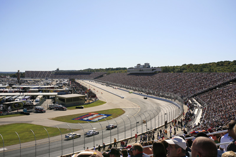 A wide angle shot looking south through turn 4