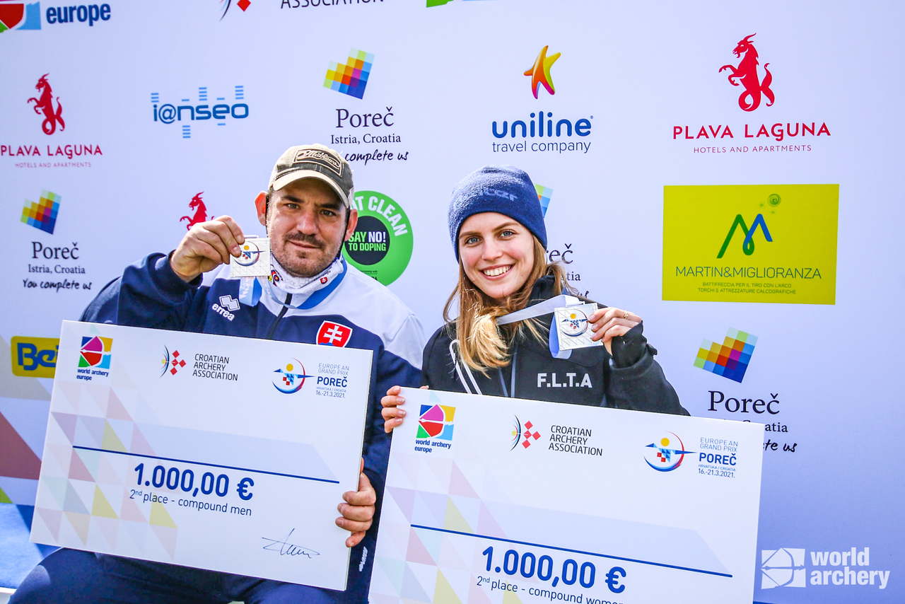 Jozef Bosansky and Mariya Skholna celebrate their silver medals at the European Grand Prix in Porec in 2021.